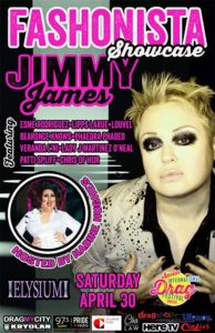 Fashionista Showcase featuring Jimmy James, hosted by Nadine Hughes at the 2016 Austin International Drag Festival